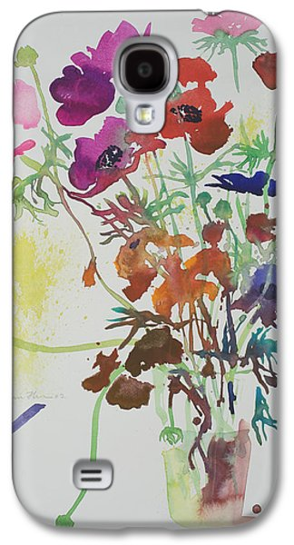 Watercolour Art Galaxy S4 Cases - Ranunculus and anemones Galaxy S4 Case by Simon Fletcher