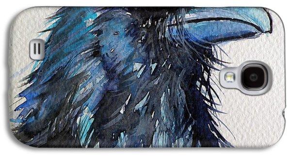Crows Black Paintings Galaxy S4 Cases - Raven I Galaxy S4 Case by Kovacs Anna Brigitta
