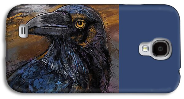 Crows Paintings Galaxy S4 Cases - Raven Galaxy S4 Case by Michael Creese