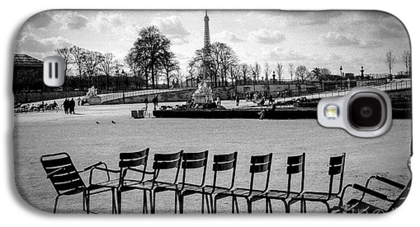 Chair Pyrography Galaxy S4 Cases - Raw of Chairs in the Tuileries Garden paris.  Galaxy S4 Case by Cyril Jayant