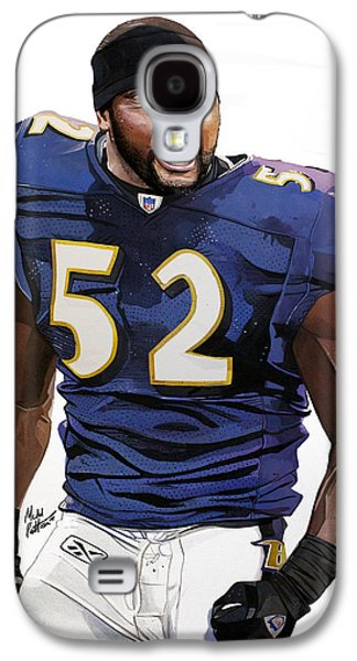 Autographed Art Galaxy S4 Cases - Ray Lewis Baltimore Ravens Galaxy S4 Case by Michael  Pattison