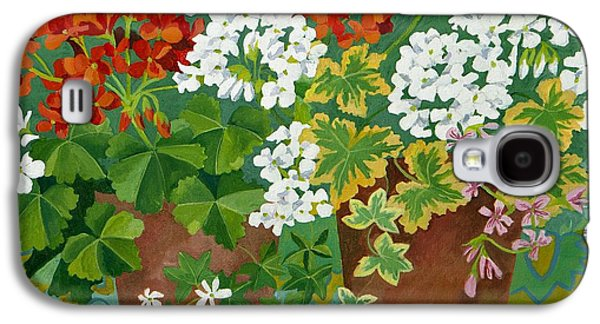Red Geraniums Galaxy S4 Cases - Red and white geraniums in pots Galaxy S4 Case by Jennifer Abbot