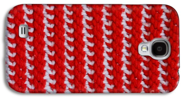 Macro Tapestries - Textiles Galaxy S4 Cases - Red and White Knit Galaxy S4 Case by AnnaJo Vahle