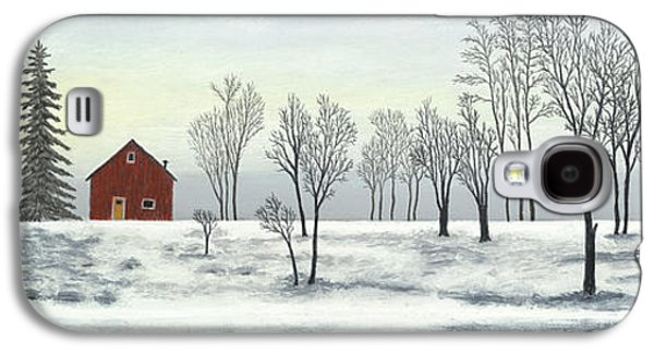 Red Barn In Winter Pastels Galaxy S4 Cases - Red Barn In Winter Galaxy S4 Case by George Burr