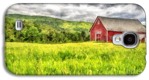Red Barns Galaxy S4 Cases - Red Barn Landscape Watercolor Galaxy S4 Case by Edward Fielding