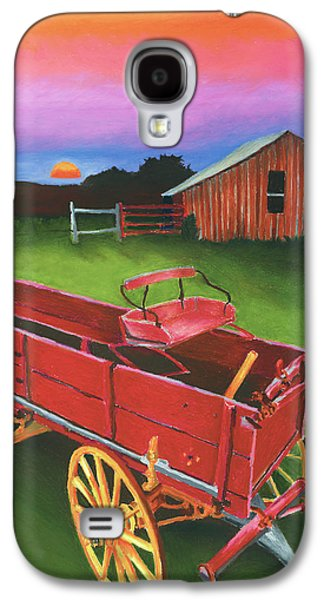 Wooden Wagons Galaxy S4 Cases - Red Buckboard Wagon Galaxy S4 Case by Stephen Anderson
