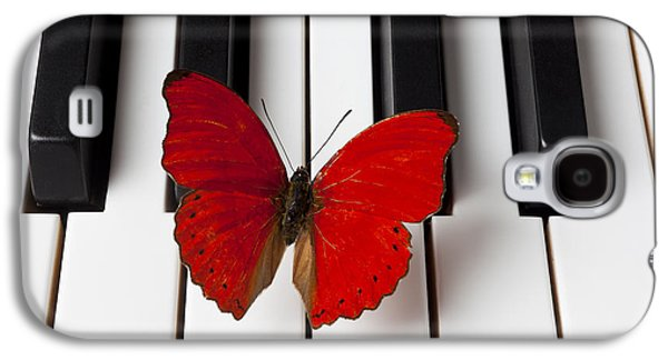 Concept Photographs Galaxy S4 Cases - Red Butterfly On Piano Keys Galaxy S4 Case by Garry Gay