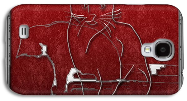 Abstract Digital Digital Galaxy S4 Cases - Red Cats Galaxy S4 Case by Arline Wagner