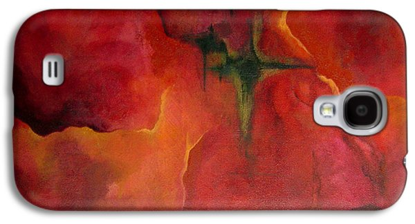 Red Abstract Paintings Galaxy S4 Cases - Red Dawn Galaxy S4 Case by Shadia Zayed