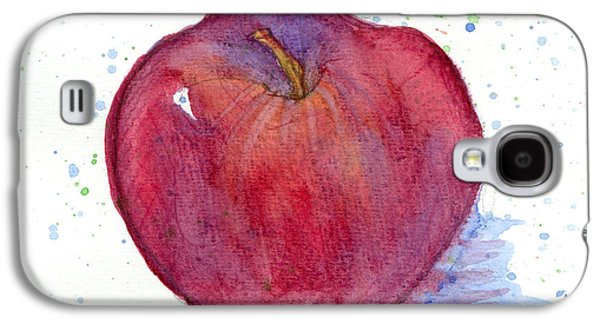 """square Art"" Drawings Galaxy S4 Cases - Red Delicious Apple Study Galaxy S4 Case by Cathie Richardson"