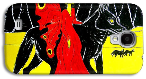 Moon Fairies Blue Snow Woman Galaxy S4 Cases - Red Faerie and Black Wolf With Yellow Moon Galaxy S4 Case by Genevieve Esson