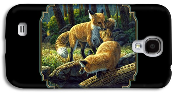Dog Paintings Galaxy S4 Cases - Red Foxes - Sibling Rivalry Galaxy S4 Case by Crista Forest