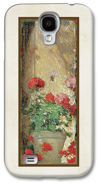 Old Mixed Media Galaxy S4 Cases - Red Geranium Pots Galaxy S4 Case by Audrey Jeanne Roberts