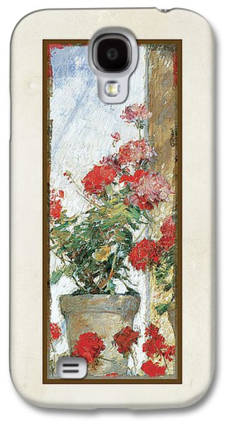 Terra Paintings Galaxy S4 Cases - Red Geraniums Against a Sunny Wall Galaxy S4 Case by Audrey Jeanne Roberts