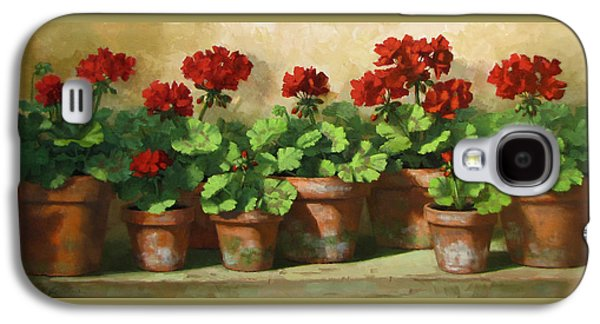 Red Geraniums Galaxy S4 Cases - Red Geraniums Galaxy S4 Case by Linda Jacobus