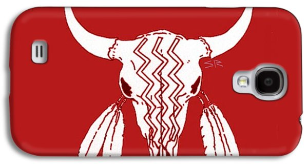 Bison Drawings Galaxy S4 Cases - Red Ghost Dance Buffalo Galaxy S4 Case by Steamy Raimon