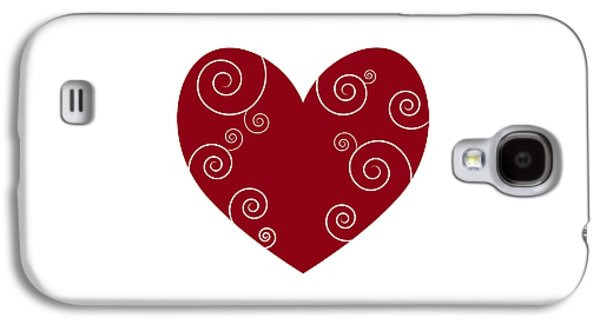 Swirly Galaxy S4 Cases - Red Heart Galaxy S4 Case by Frank Tschakert