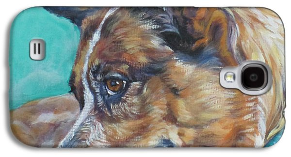 Cattle Dog Paintings Galaxy S4 Cases - Red Heeler Australian Cattle Dog Galaxy S4 Case by Lee Ann Shepard