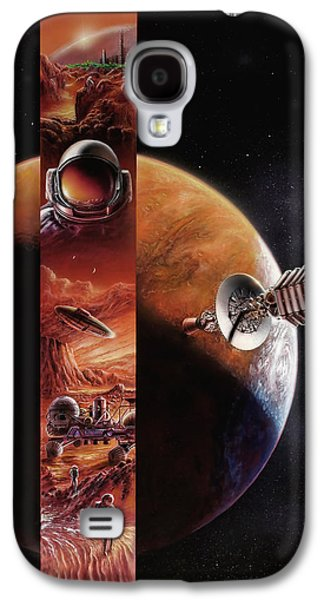 Science Fiction Paintings Galaxy S4 Cases - Red Mars Cover Painting Galaxy S4 Case by Don Dixon