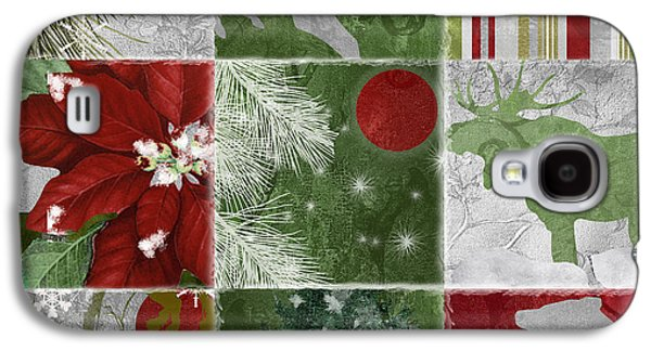 Christmas Art Galaxy S4 Cases - Red Moon Christmas Patchwork Galaxy S4 Case by Mindy Sommers