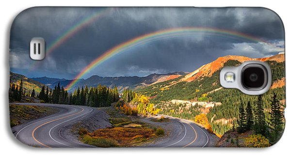 Storm Prints Photographs Galaxy S4 Cases - Red Mountain Rainbow Galaxy S4 Case by Darren  White