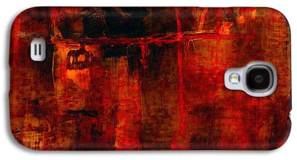 Red Abstract Paintings Galaxy S4 Cases - Red Odyssey Galaxy S4 Case by Pat Saunders-White