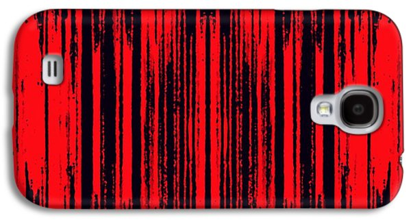 Abstract Digital Tapestries - Textiles Galaxy S4 Cases - Red on Black Galaxy S4 Case by Suzi Freeman
