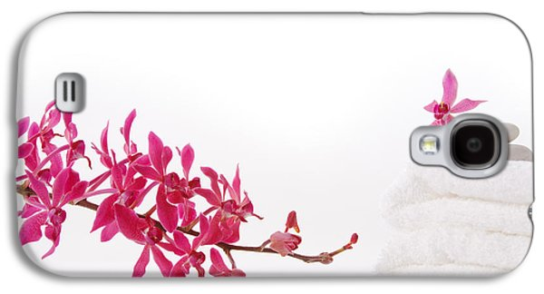 Cut-outs Galaxy S4 Cases - Red Orchid With Towel Galaxy S4 Case by Atiketta Sangasaeng