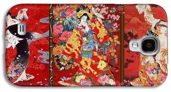 Red Oriental Trio Galaxy S4 Case by Haruyo Morita