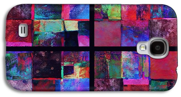 Avant Garde Mixed Media Galaxy S4 Cases - Red Patchwork - abstract art  Galaxy S4 Case by Ann Powell