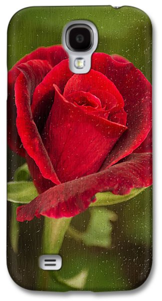 Rollosphotos Digital Art Galaxy S4 Cases - Red Rose Behind Wet Glass Galaxy S4 Case by Christina Rollo