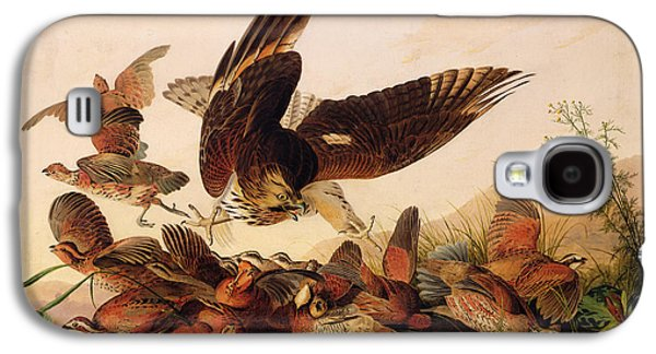 Red Shouldered Hawk Attacking Bobwhite Partridge Galaxy S4 Case by John James Audubon