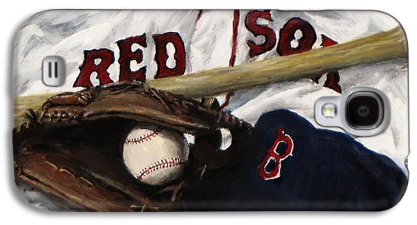 Red Sox Paintings Galaxy S4 Cases - Red Sox number nine Galaxy S4 Case by Jack Skinner