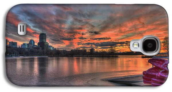 Red Sunset Over The Boston Skyline Galaxy S4 Case by Joann Vitali