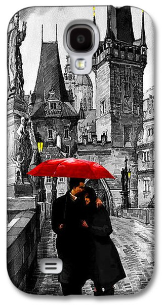 Architecture Mixed Media Galaxy S4 Cases - Red Umbrella Galaxy S4 Case by Yuriy  Shevchuk