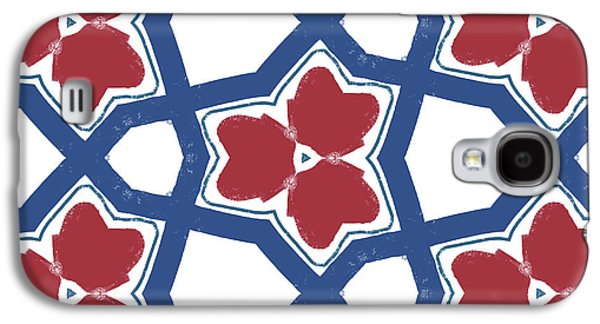 Red White And Blue Floral Motif- Art By Linda Woods Galaxy S4 Case by Linda Woods