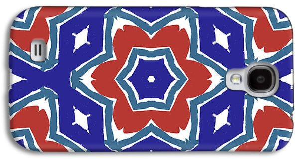 Red White And Blue Star Flowers 1- Pattern Art By Linda Woods Galaxy S4 Case by Linda Woods