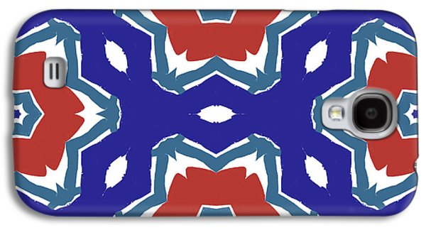 Red White And Blue Star Flowers 2 - Pattern Art By Linda Woods Galaxy S4 Case by Linda Woods