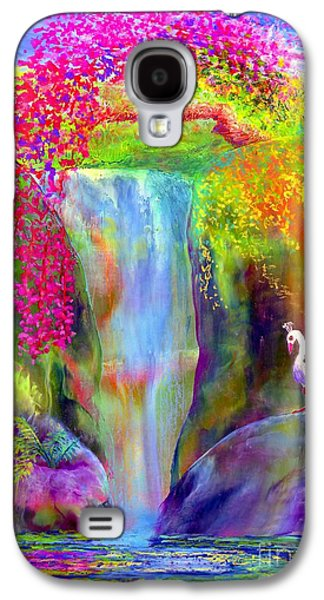 Waterfall And White Peacock, Redbud Falls Galaxy S4 Case by Jane Small