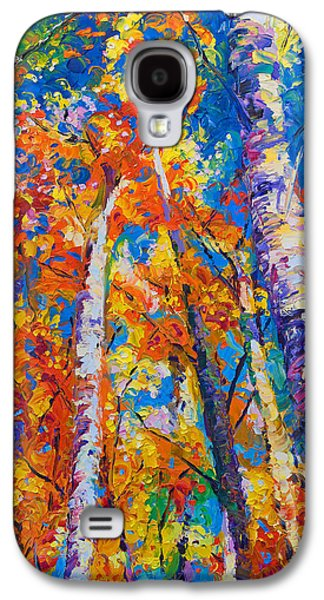 Expressionism Galaxy S4 Cases - Redemption - fall birch and aspen Galaxy S4 Case by Talya Johnson