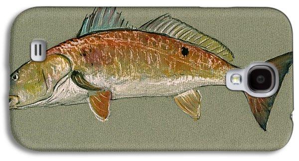 Sportfishing Galaxy S4 Cases - Redfish watercolor painting Galaxy S4 Case by Juan  Bosco