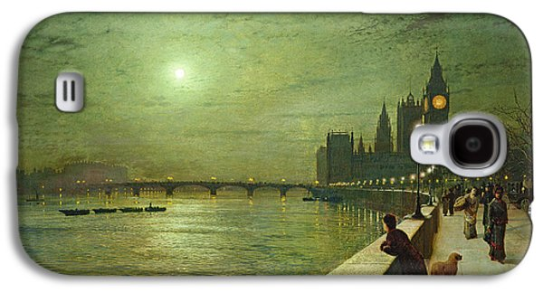 Night Lamp Paintings Galaxy S4 Cases - Reflections on the Thames Galaxy S4 Case by John Atkinson Grimshaw