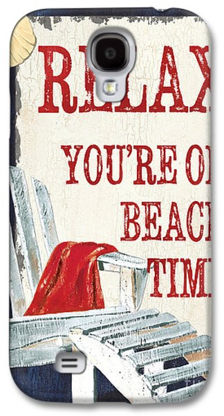 Beach Towel Galaxy S4 Cases - Relax Youre on Beach Time Galaxy S4 Case by Debbie DeWitt