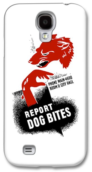 Dogs Mixed Media Galaxy S4 Cases - Report Dog Bites - WPA Galaxy S4 Case by War Is Hell Store