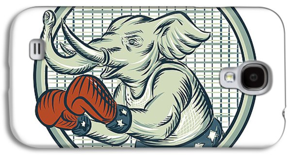 Boxer Galaxy S4 Cases - Republican Elephant Boxer Mascot Circle Etching Galaxy S4 Case by Aloysius Patrimonio