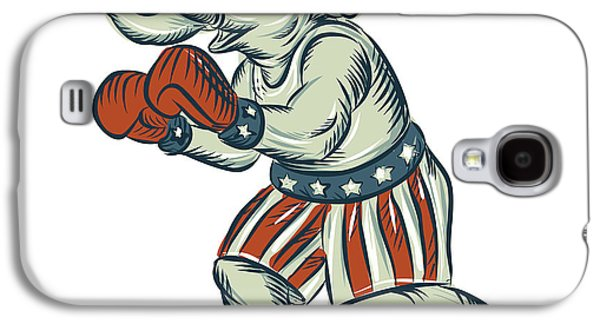 Boxer Galaxy S4 Cases - Republican Elephant Boxer Mascot Isolated Etching Galaxy S4 Case by Aloysius Patrimonio