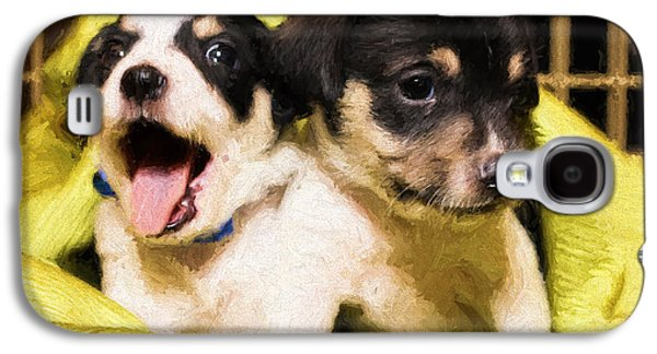 Puppies Digital Art Galaxy S4 Cases - Rescue Me Galaxy S4 Case by Stephen Falavolito