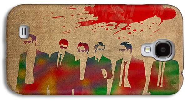 Reservoir Galaxy S4 Cases - Reservoir Dogs Movie Minimal Silhouette Watercolor Painting Galaxy S4 Case by Design Turnpike