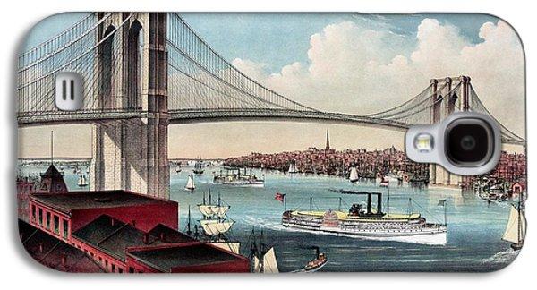 Suspension Drawings Galaxy S4 Cases - Restored antique East River Suspension Bridge NY Galaxy S4 Case by Heidi De Leeuw