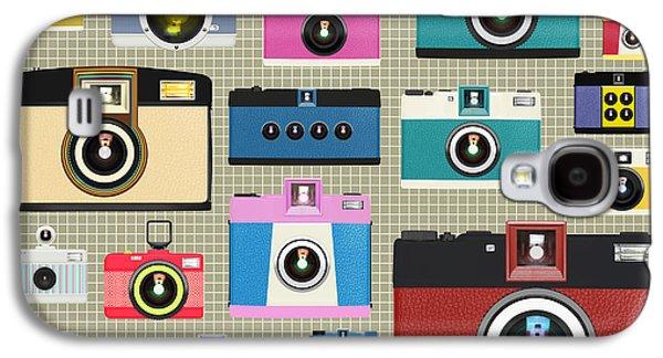 Multicolored Digital Galaxy S4 Cases - Retro Camera Pattern Galaxy S4 Case by Setsiri Silapasuwanchai